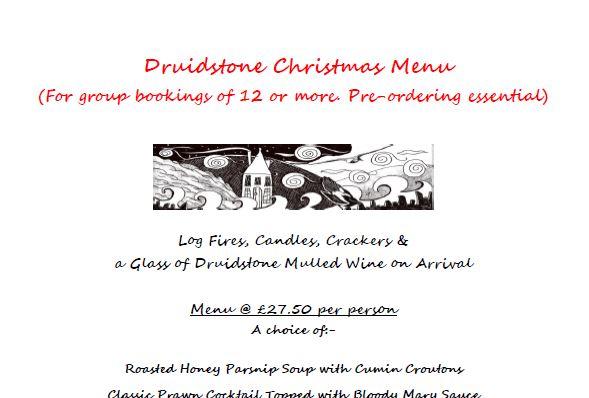 The Druidstone | Food Sample Menu